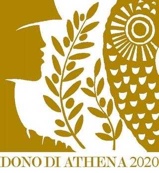 """Logo """"Il dono di Athena 2020"""" premio speciale. Il Premio """"Dono di Athena"""" è un riconoscimento speciale riservato alle aziende produttrici di olio DOP, IGP o Biologico condotte al femminile che partecipano al concorso nazionale """"Sirena D'Oro di Sorrento""""."""