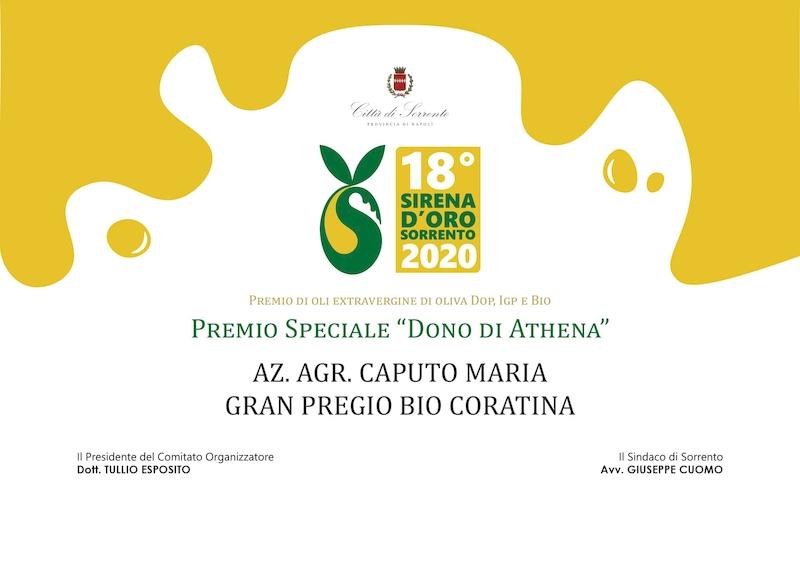 """Premio di oli extravergini di oliva DOP, IGP e Bio. Premi speciale """"Dono di Athena"""" 2020 - azienda vincitrice"""